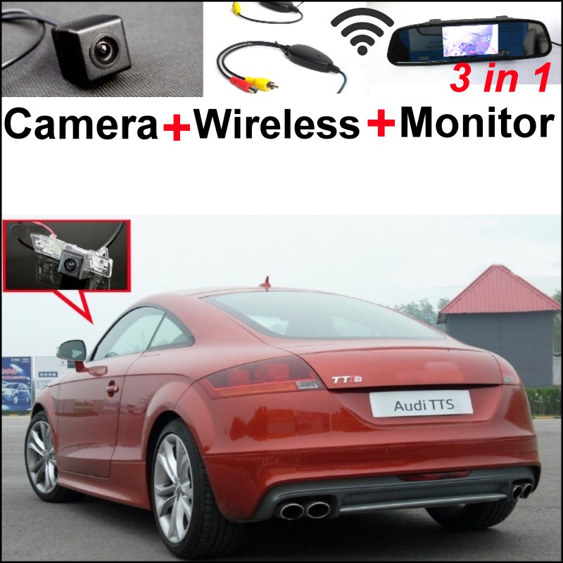 3 in 1 Special WiFi Camera + Wireless Receiver + Mirror Monitor Easy DIY Parking System For Audi TT / TTS 2007~2014 wireless pager system 433 92mhz wireless restaurant table buzzer with monitor and watch receiver 3 display 42 call button
