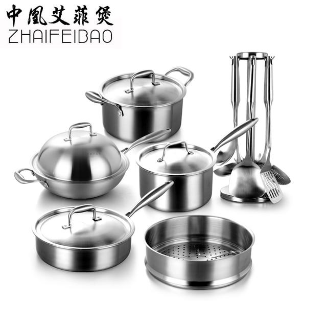 Gratis Pengiriman Kualitas Tinggi 304 Stainless Steel 16 Pcs Set Peralatan Masak Wok Stockpot