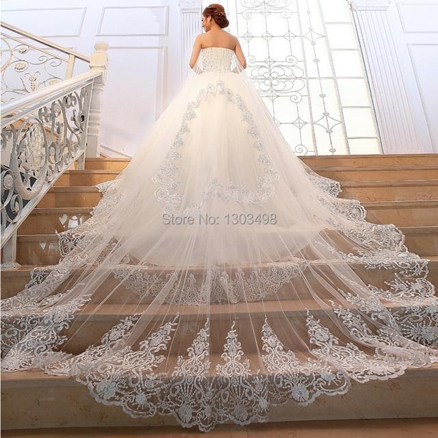 Princess Luxury Tube Top Long Trailing Wedding Dress Crystal Sparkling Diamond Bride With The Veil