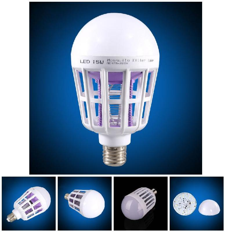2 in 1 LED Bulb Mosquito Killer <font><b>Lamp</b></font> E27 15W Pest Control Light Bulb ALI88