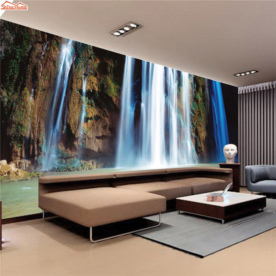 ShineHome-Waterfall Wallpaper Rolls Wallpapers 3d Kids Room Wall Paper Murals for Walls 3 d Wallpapers for Livingroom Mural Roll shinehome modern banana leaf strip abstract background wallpapers rolls 3 d wallpaper for livingroom walls 3d kids room paper