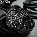 Часы с хронографом, мужские роскошные брендовые кварцевые Военные Спортивные Повседневные часы из натуральной кожи, мужские наручные часы,...