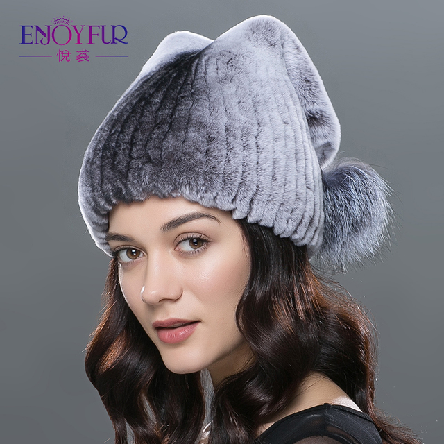 600b27fbc99 ENJOYFUR women fur hats real rex rabbit fur cap with 2 silver fox fur pom  poms