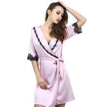 New Arrival Womens Lace Silk Sleep & Lounge Lingerie Temptation Classic Nightgown Kimono Sleepwear Robe Gown With Belt 0016