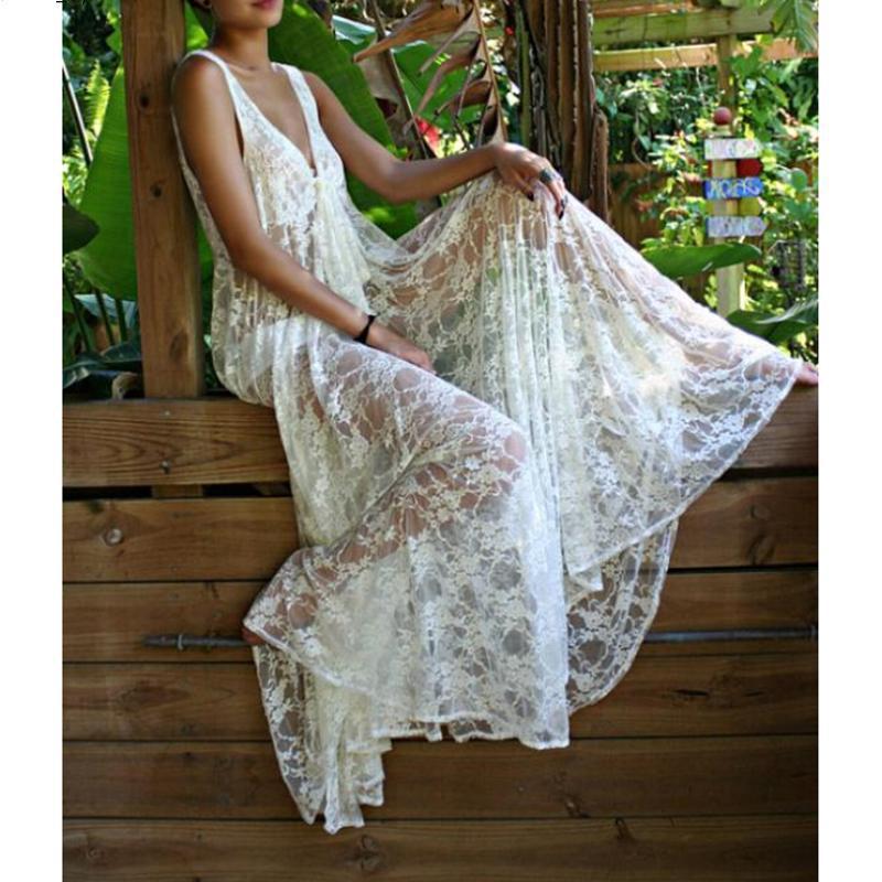 Bohemian White Lace Fairy Short Dress Women 2018 Hot New ... |Tahari White Dress Hippie Bohemian