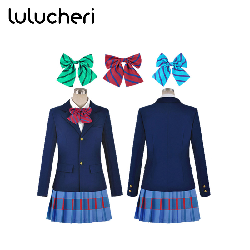 Anime Lovelive Cosplay Costume High School Uniforms Outerwear Suits for Girls Coat Skirt 3 Colors of Tie School Suits Halloween
