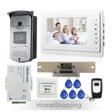 """ENVÍO LIBRE 7 """"Kit de Videoportero De Intercomunicación 1 Monitor 1 Lector RFID Cámara Timbre + Huelga Lock + Remote En Inventario Al Por Mayor"""