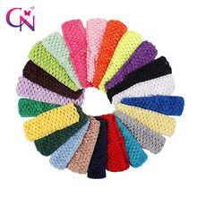 20 Pieces/lot Girls Stretchy Crochet Elastic Hair Band Newborn Kids TuTu Crochet Headband For Girls Hair bands Hair Accessories(China)