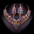 Fashion Bridal Jewelry Sets Wedding Necklace Earring For Brides Party Accessories Gold Plated Dubai  jewel Decoration Women