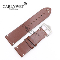 CARLYWET 20 22 24mm Wholesale New Style Cowhide Smooth Brown Replacement Watch Band For CITIZEN Omega