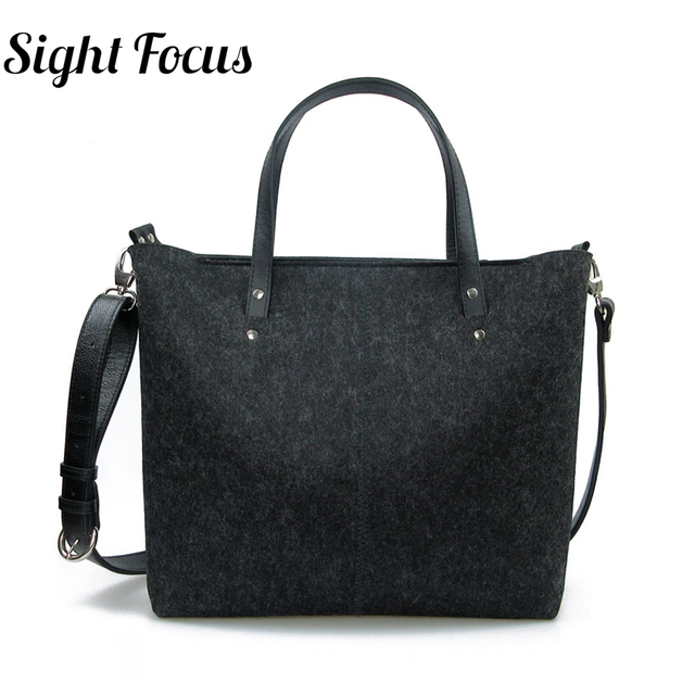 ff5c33cf9e Sight Focus Felt lady Bag large Vegan Shoulder Bag Women Dark Grey  Minimalist Bag Daily Female CrossBody Bag Tote Messenger Bag