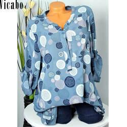Vicabo Для женщин топы и блузки 2018 Мода с принтом в горошек женские рубашки с длинным рукавом v-образным вырезом Осенняя блузка Blusas плюс