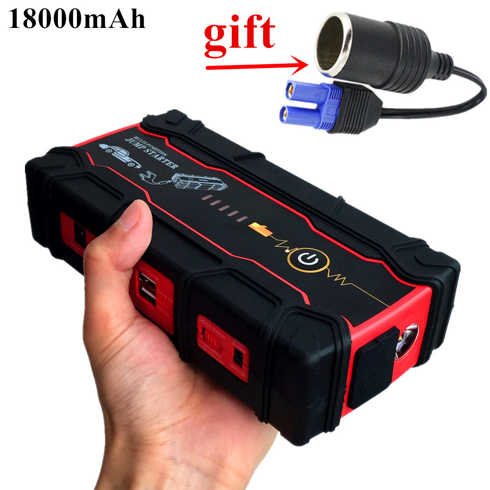 High Capacity 18000mAh Car Jump Starter Portable Starting Device Power Bank Biggest Car Charger For Car Battery Booster Buster 2017 high capacity power bank car jump starter 12v portable multifunctional jumper start car charger booster 18000mah sos light
