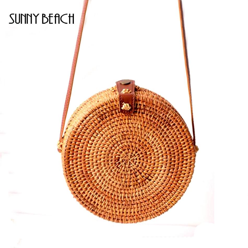 SUNNY BEACH 2019 Round Straw Bags Women Summer Rattan Bag Handmade Woven Beach Cross Body Bag Circle Bohemia Handbag Bali Сумка