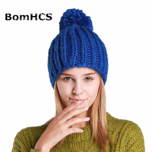 21407585442 BomHCS Winter Beanie Girls 100% Handmade Knitted Hats Women Beanies Pompom  Caps with Top Ball