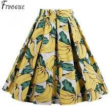 f855ddb07ae Women Banana Skirts Yellow Banana Printed High Waist 50s Swing Rockabilly  Pleated Midi Skirts Female Casual