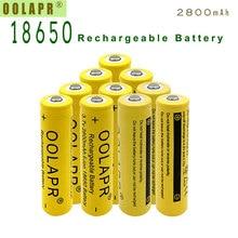 OOLAPR Yellow 10pcs 18650 2800mah rechargeable batteries 18650 3.7V Rechargeable Battery 18650 li-ion Battery - Free shipping цена