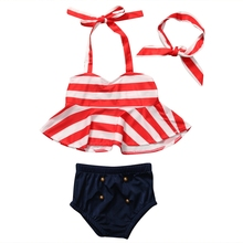 New 3 개 유아 Kids Baby Girls Striped Swimsuit 수영복 Bathing 한 벌 탱 Bikini Set 비치웨어 Cute(China)