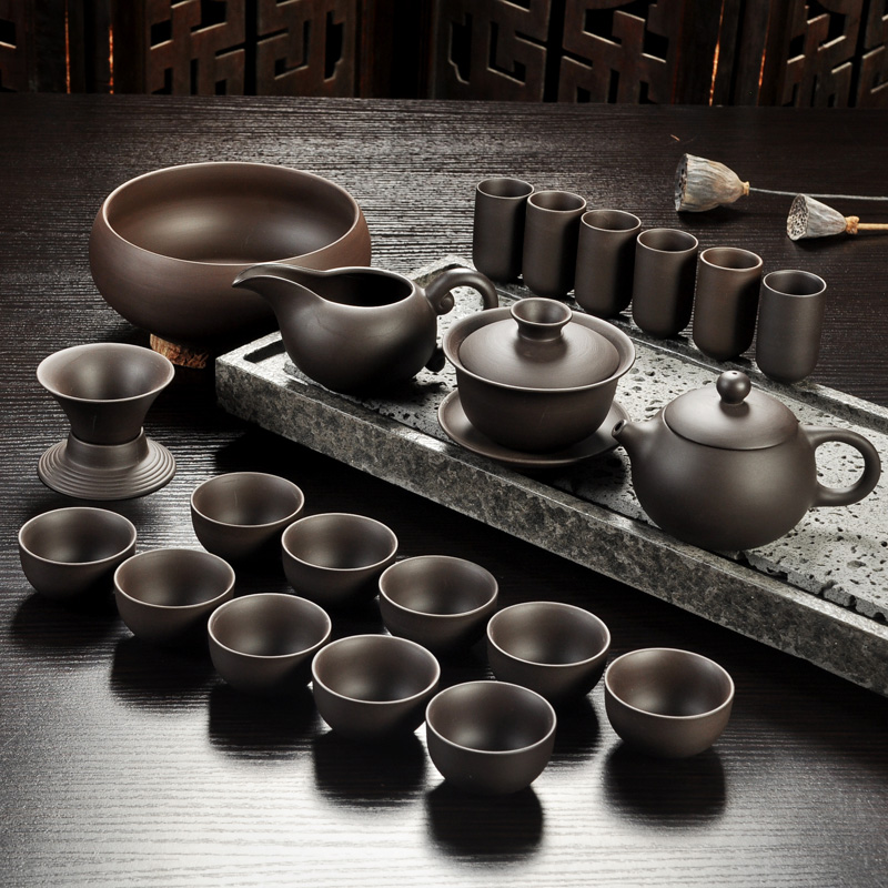 Sand-Tea-Set Teapot Teacup-Gaiwan Tea Ceremony Ceramic Kung-Fu Yixing Purple Black/red title=