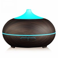Wood Grain Aroma Diffuser With Color Changing LED Light Ultrasonic Aromatherapy Air Humidifier 300ML Essential Oil
