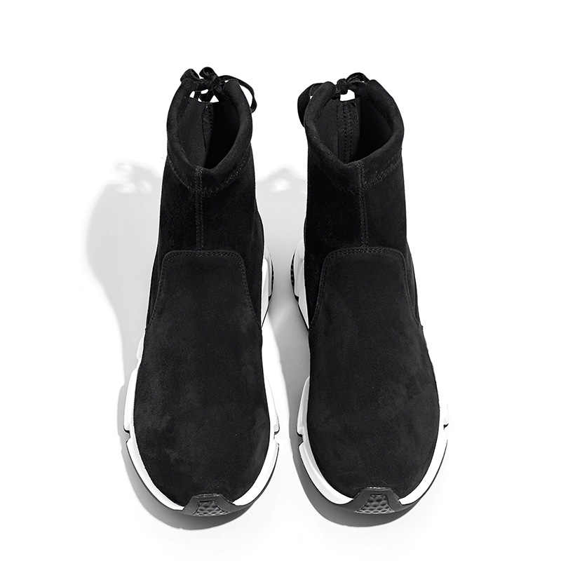 BeauToday Kadın yarım çizmeler Marka En Kaliteli Süet Koyun Derisi Bahar Sonbahar Bayan Botları El Yapımı Ayakkabı 05401