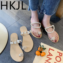 HKJL Fashion women 2019 Korean female summer all-match pearl sandals toe Rome beach wear A331