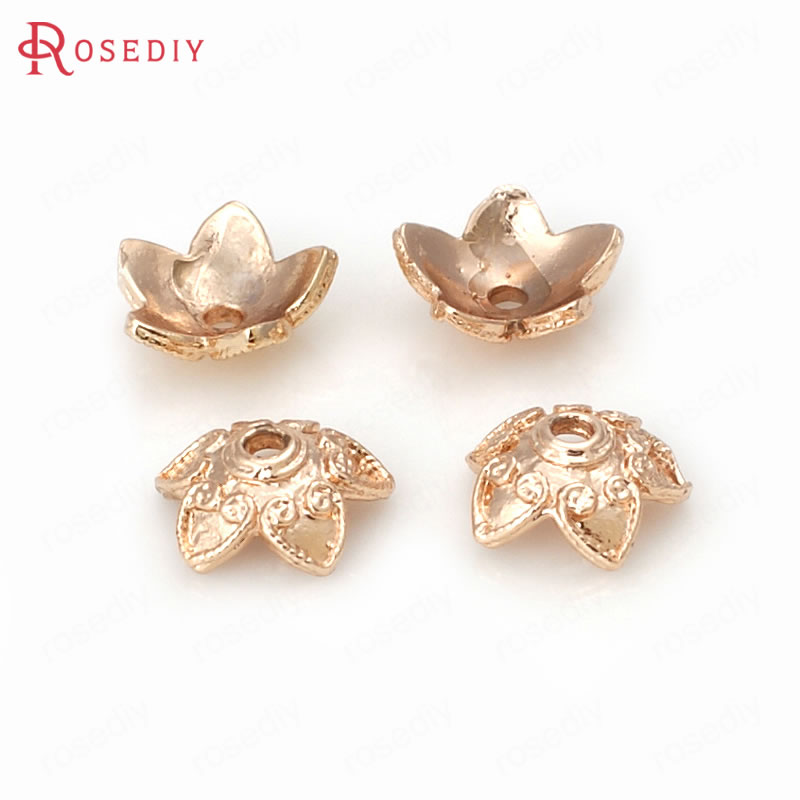 20PCS 9MM 24K Champagne Gold Color Plated Brass Flower Beads Caps High Quality Diy Jewelry Accessories