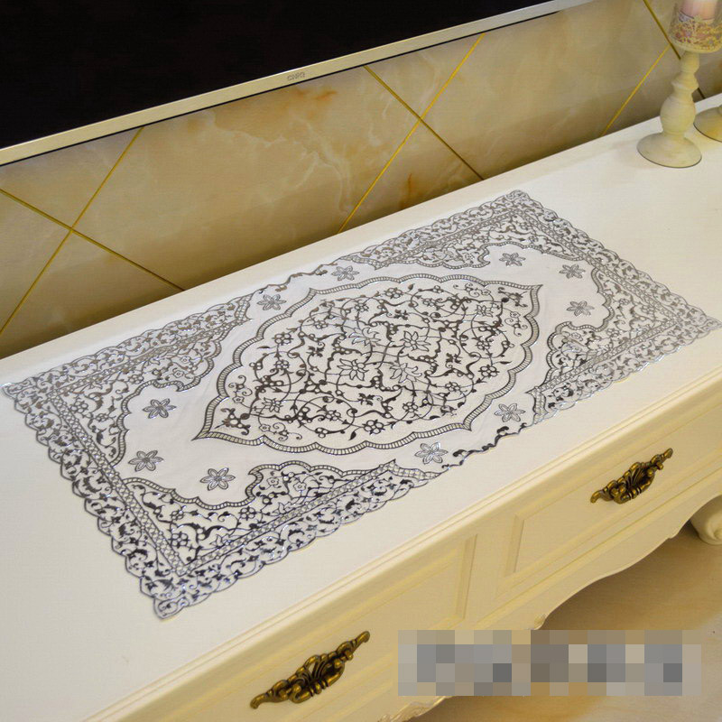 PVC Tablecloth TV Bench Coffee Dining Tea Table Decorative Cover Mat Pad Floral Table Cloth Waterproof 40 x 84cm Silver