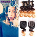 grace hair company 4 bundles with closure ombre cambodian virgin hair with lace closure 1b/4/27 body wave blonde ombre closure