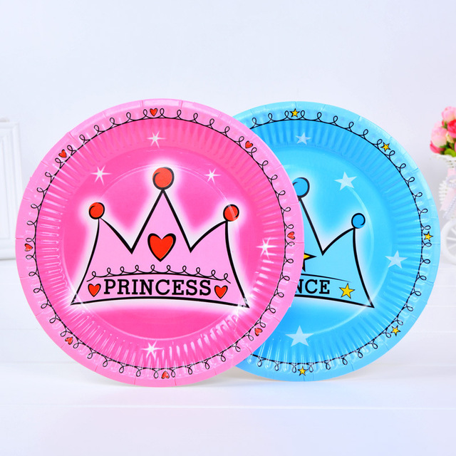 6pcs Pack 7inch Birthday Cake Plates Kids Happy Party Banquet Tableware Decorations Cartoon Paper