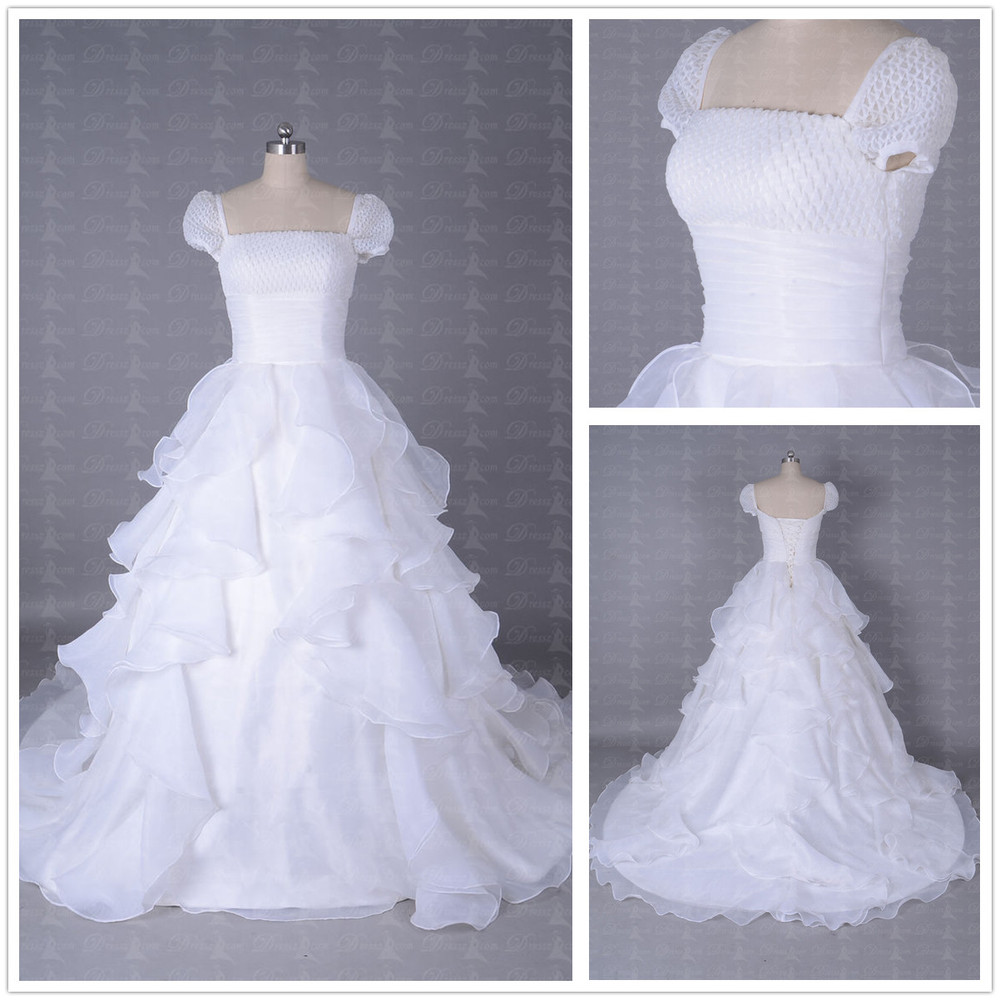 Adding Cap Sleeves Wedding Dress To: Custom Made Cascading Ruffle Pleated Corset Princess Style