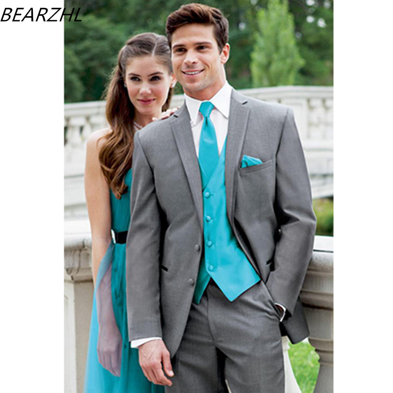 Wedding Suits 3 Piece Suit Dinner Groom Tuxedo Dress 2019 Custom Made Light Gray  Dress