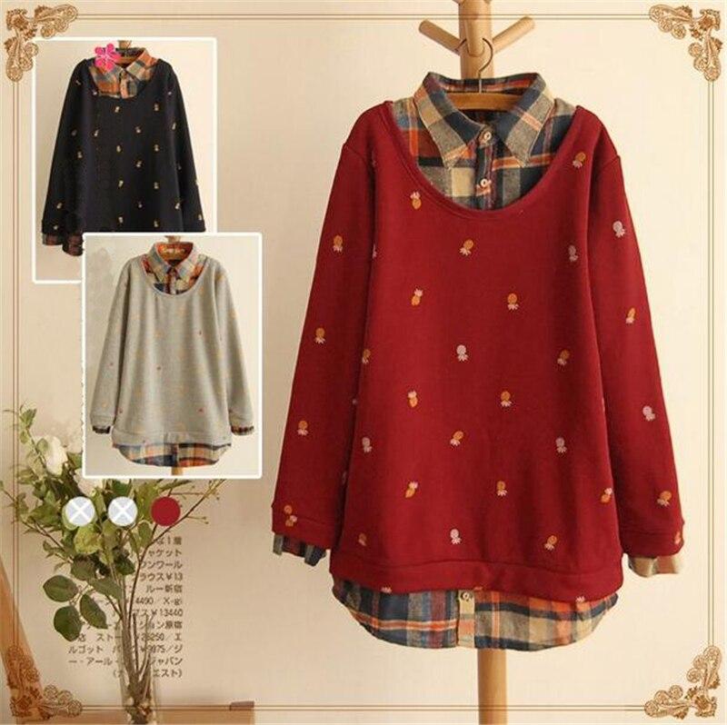 AREALNA winter kimono fake two plaid   shirt   women   blouses   tops pineapple Printed   blouse     shirts   mori girl blusas femininas 4XL