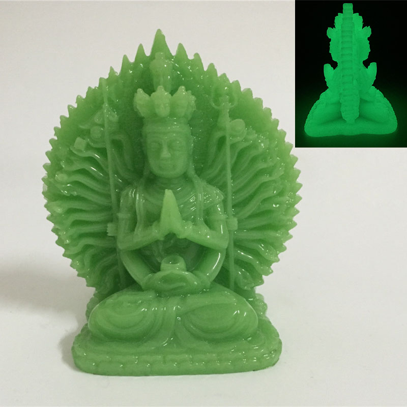 Glowing Thousand-hand Guan Yin Buddha Statue Man-made Jade Stone Ornaments Kwan Yin Buddha Sculpture Figurines Home Decoration