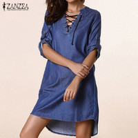 ZANZEA Fashion Womens Lace Up V Neck Asymmetrical Denim Blue Loose Casual Party Mini Shirt Dress