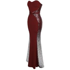 Image 3 - Angel fashions Abiti da ballo Sweetheart Gradiente di Paillette Arco di Colore di Contrasto Fiocchi e Fasce Splicing del Vestito Vino Rosso 384