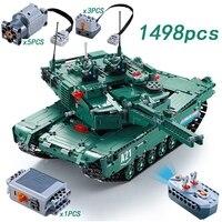 M1A2 1498 шт. legoing техника Радиоуправляемый двигатель для танка Мощность Функция мс конструкторных блоков, Детские кубики военные DIY техник Игру