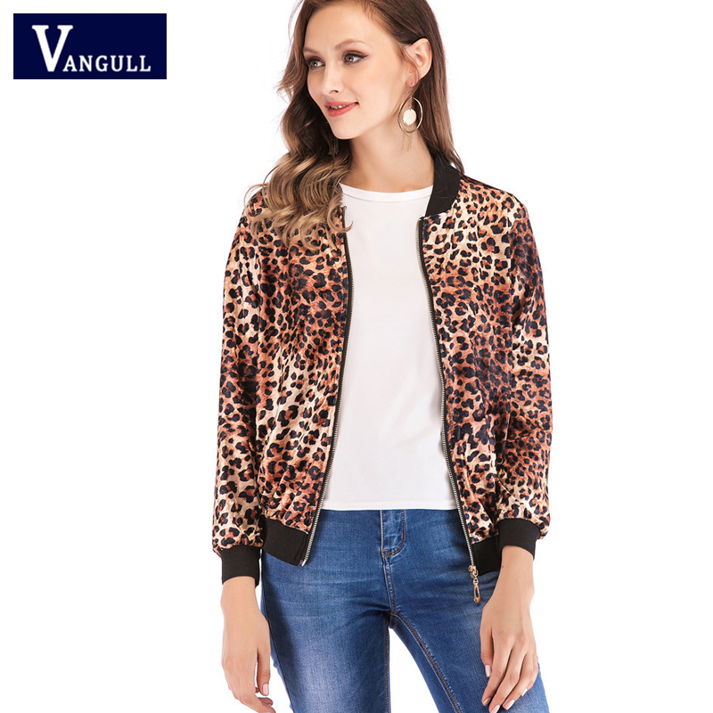 Vangull Women   Jacket   Coat Spring Fashion Leopard   Basic     Jackets   Zipper Velvet Casual 2019 Female Baseball Coats Autumn Outerwear