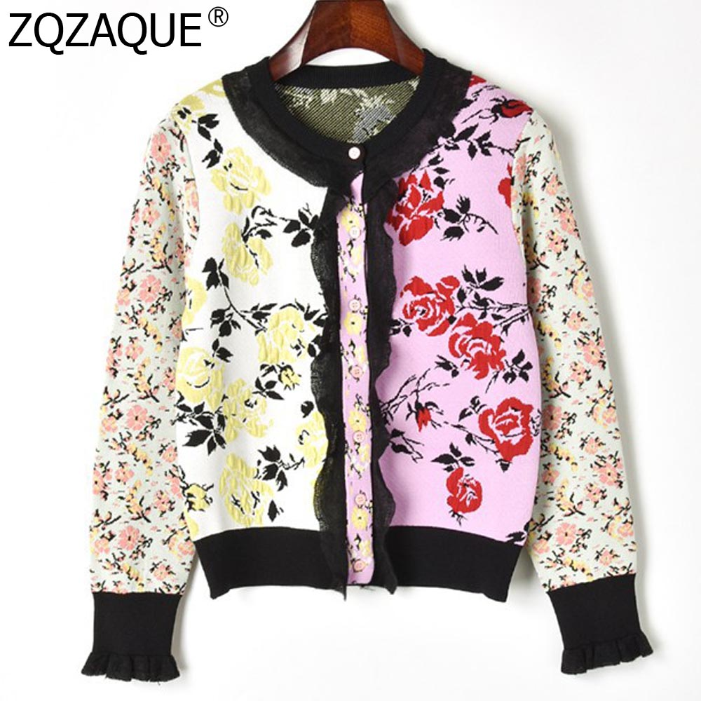 Fashion Fall Winter Cardigans Jacquard Florals Single-Breasted Long Sleeve Cardigan Sweaters Knitwears For Women Clothes 2019