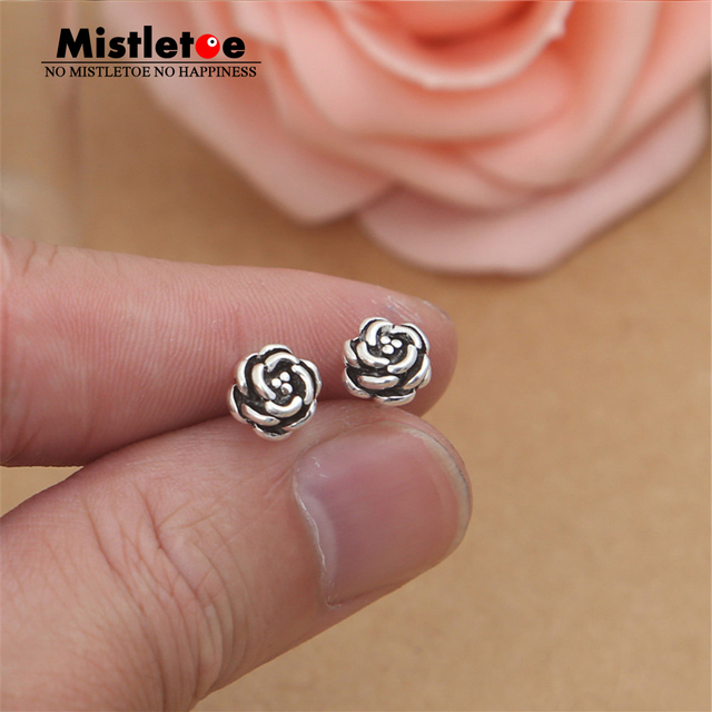 Authentic 925 Sterling Silver Vintage Punk Rose Stud Earrings For Women Or Men Jewelry