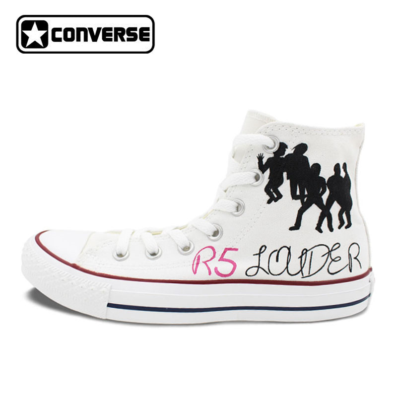 R5 Loud Design Hand Painted Shoes Men Women's Converse All Star Custom High Top Canvas Sneakers Boys Girks Birthday Gifts mens converse shoes custom hand painted hunger game high top black canvas sneakers unique presents