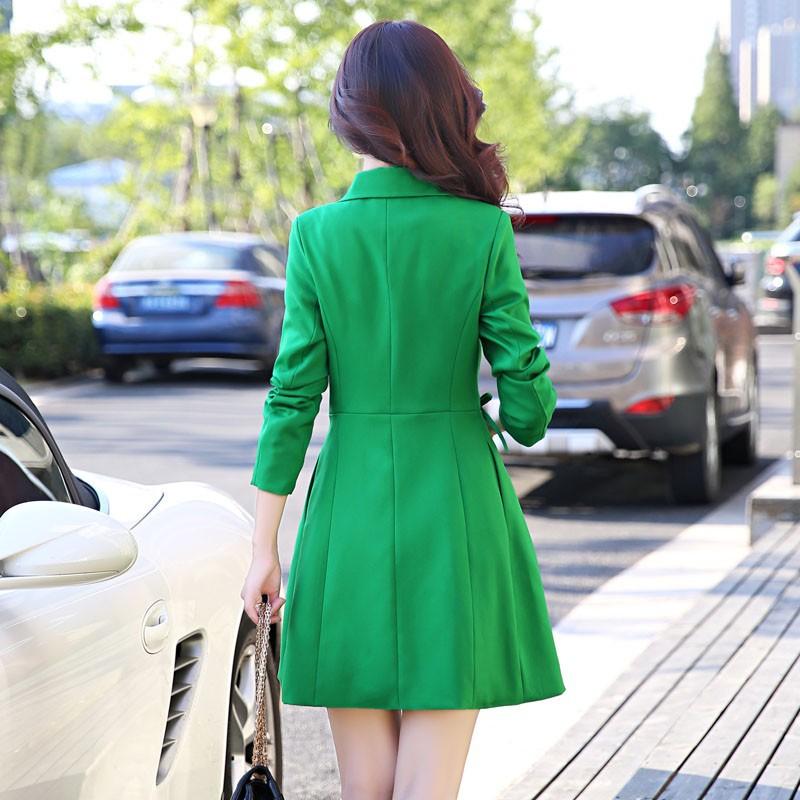 Super Pretty  Elegant Trench Coat Women Windbreaker Ladies Peplum Jacket Pink Grey Green Manteau Femme Silm Long Blazers ddddd