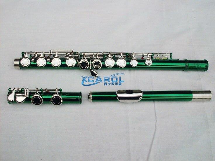 Vert 16 trous étroits flûte C clé + E couleur flûte grande technique de ton en métal