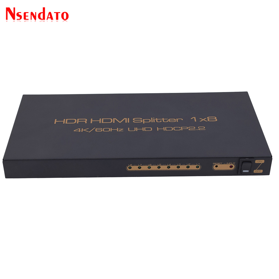 HDR HDMI 2.0 Splitter 1X8 4Kx2K 60Hz 1 In 8 Out HDMI Switch Converter with Power adapter Support DTS Dolby HDCP2.2 3D 1080p HDTV aikexin 1080p 8 way hdmi splitter 8 port hdmi adapter hub 3d 1x8 hdmi video splitter 1 in 8 out for hdmi tv pc dvd player ps3