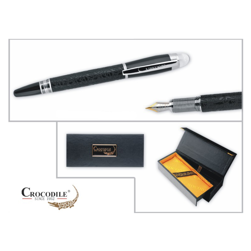 Promotion Crocodile 232 Luxury Black Metal Fountain Pen with Crystal Head Ink Pens for Writing School Office Stationery Supplies italic nib art fountain pen arabic calligraphy black pen line width 1 1mm to 3 0mm