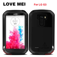 LOVEMEI Luxury Dirt resistant Anti knock Metal Aluminum Cases Cover with Gorilla Glass for LG G3 D858 Heavy Duty Protection Case