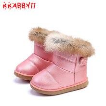 Зимние Модные Детские зимние сапоги для девочек, теплая плюшевая мягкая подошва для маленьких девочек, удобные ботинки, детские кожаные зимние сапоги для малышей