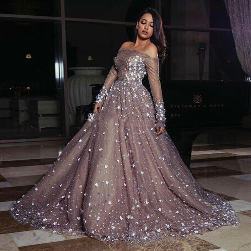 Arab Mutiara Lace Formal Evening Gowns Dengan 3d Bunga Penuh Sleeves