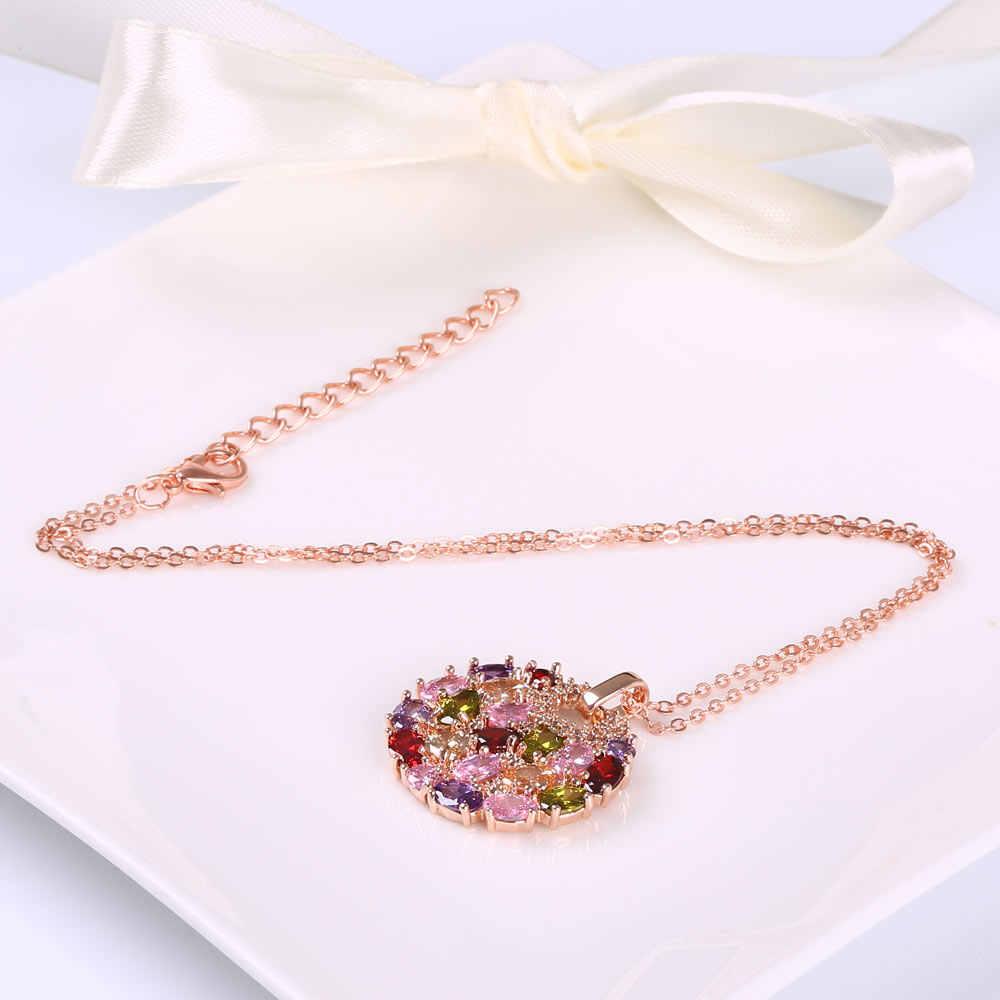 CARSINEL Halskette & Armband & Ohrring Modeschmuck Sets Rose Gold-farbe mit Glänzenden CZ Zirkon Zubehör für Braut JS0070