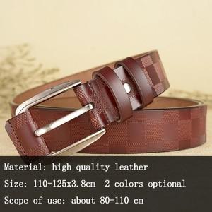 Image 2 - 110 125x3.8cm Classic lattice leather genuine leather belt Mens luxury man brand cowboy belts for men jeans ceinture homme C217